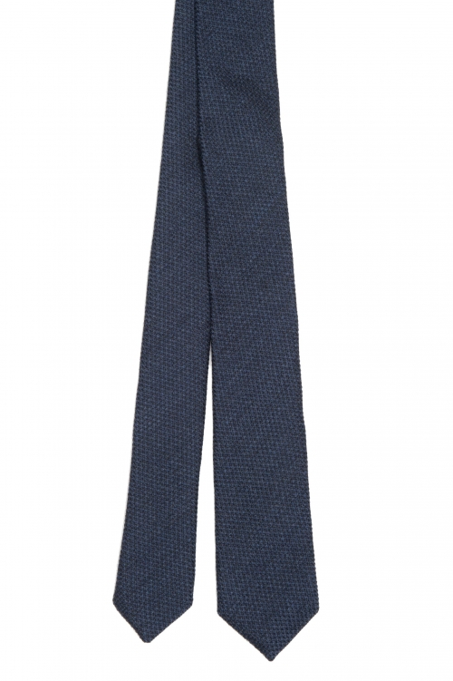 SBU 03135_2020AW Classic skinny pointed tie in blue wool and silk 01