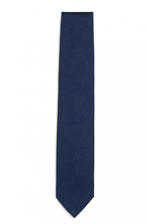 SBU 03138_2020AW Classic skinny pointed tie in blue silk 01