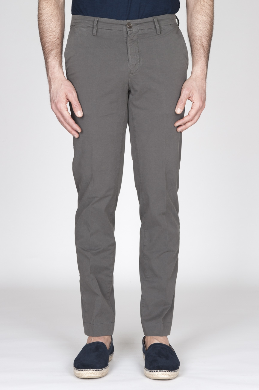 Pantaloni Chino Regular Fit Classici In Cotone Stretch Verde Oliva