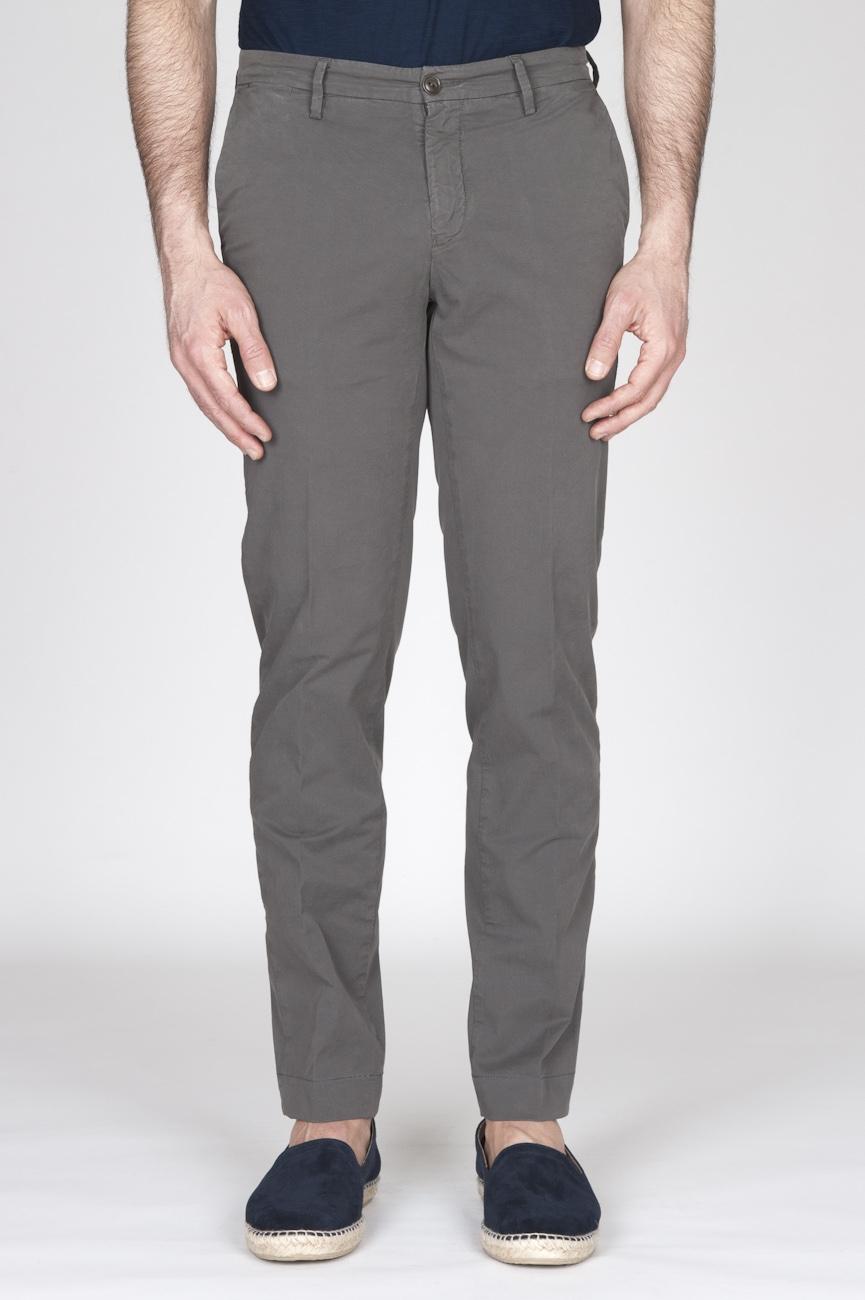 Pantaloni Chino Regular Fit Classici In Cotone Stretch Verde Oliva