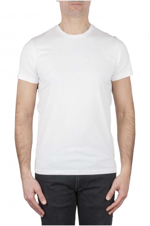 SBU 03148_2020AW Clásica camiseta de cuello redondo blanca manga corta de algodón 01