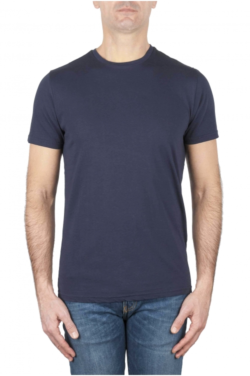 SBU 03149_2020AW Clásica camiseta de cuello redondo azul marino manga corta de algodón 01
