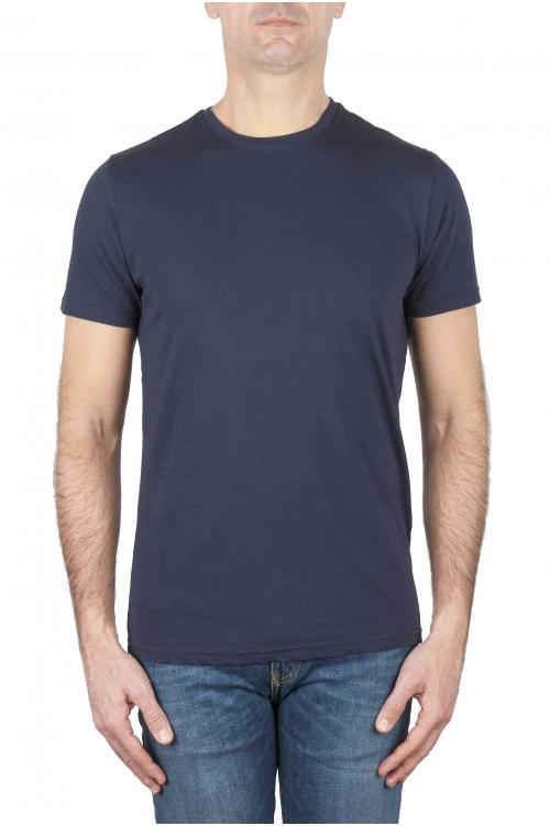 SBU 03149_2020AW Shirt classique bleu marine col rond manches courtes en coton 01