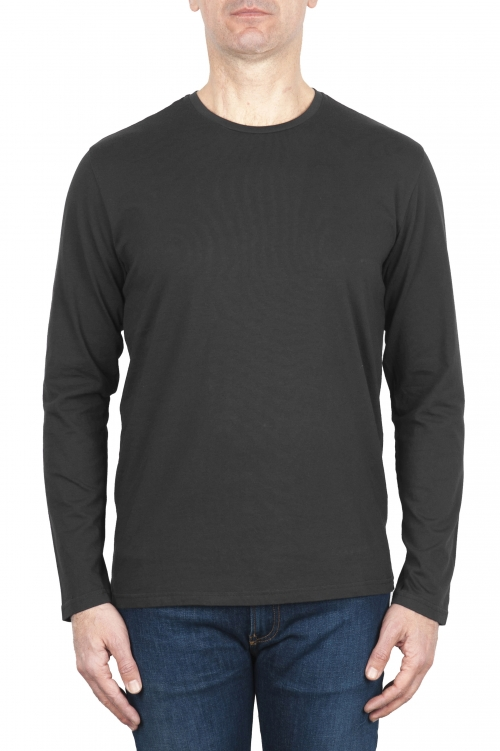 SBU 03150_2020AW T-shirt girocollo a maniche lunghe in cotone grigia 01