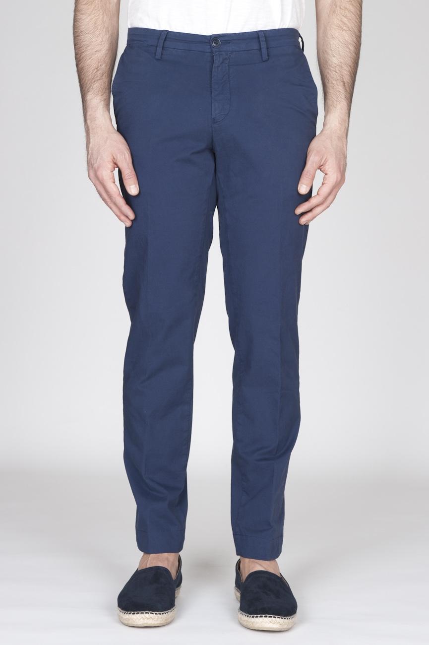 SBU - Strategic Business Unit - Classic Regular Fit Chino Pants In Blue Stretch Cotton