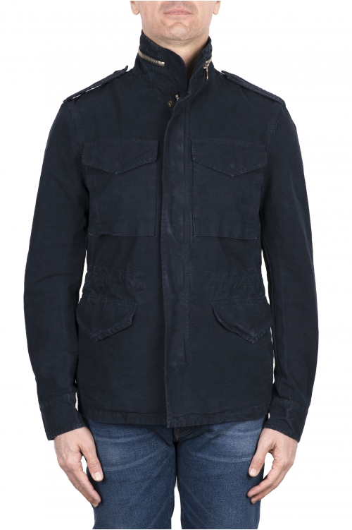 SBU 03151_2021SS Giacca militare stone washed in cotone blue 01