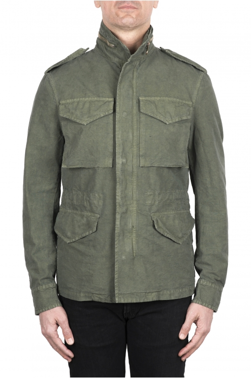 SBU 03152_2021SS Giacca militare stone washed in cotone verde 01