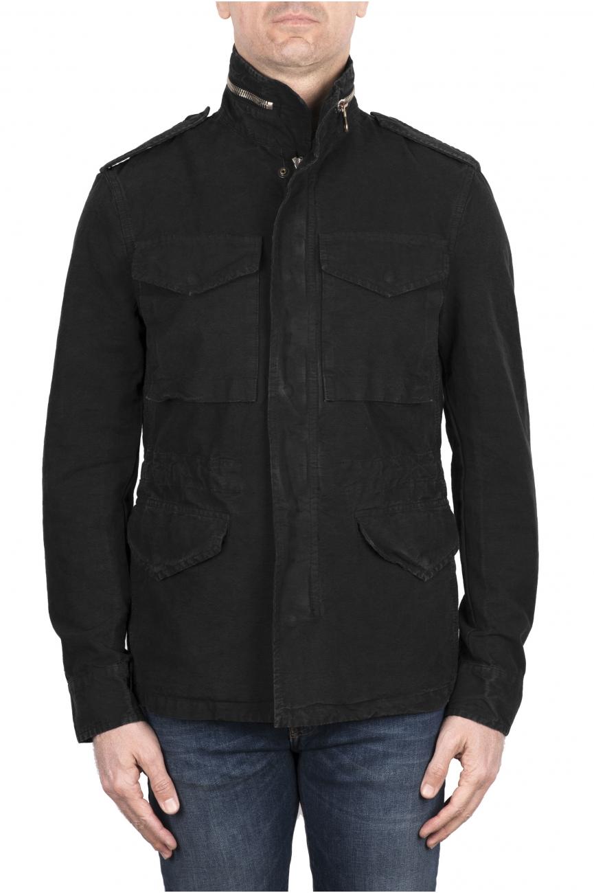 SBU 03153_2021SS Stone washed black cotton field jacket 01