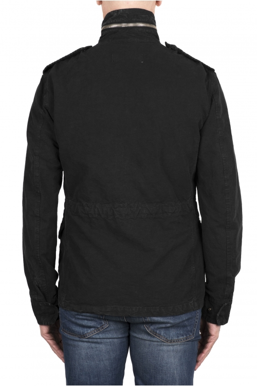 SBU 03153_2021SS Giacca militare stone washed in cotone nera 01