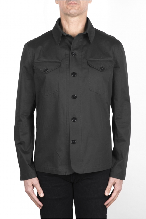 SBU 03154_2021SS Camicia in cotone tecnico grigio 01