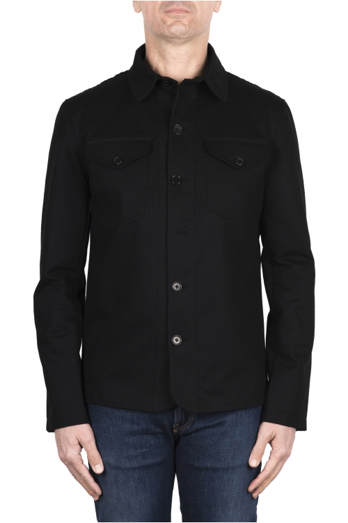 SBU 03156_2021SS Sobrecamisa de algodón negra 01
