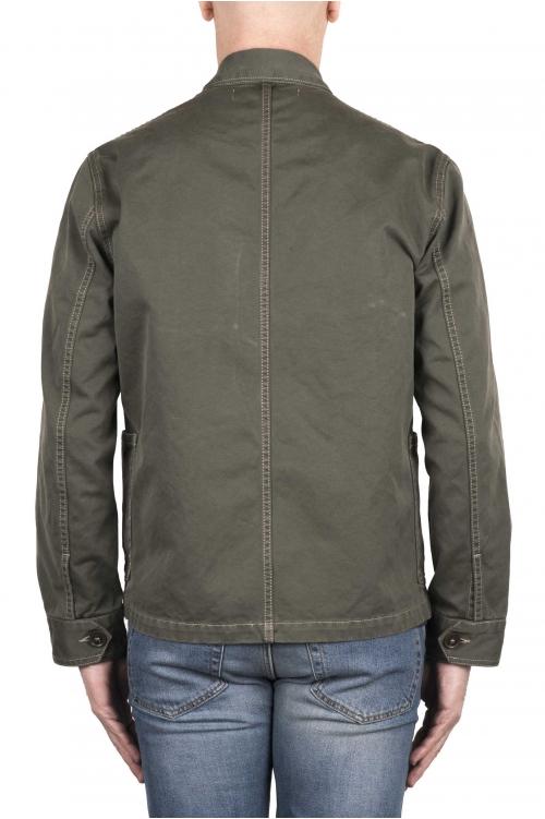 SBU 03157_2021SS Veste à poches multiples sans doublure en coton vert 01