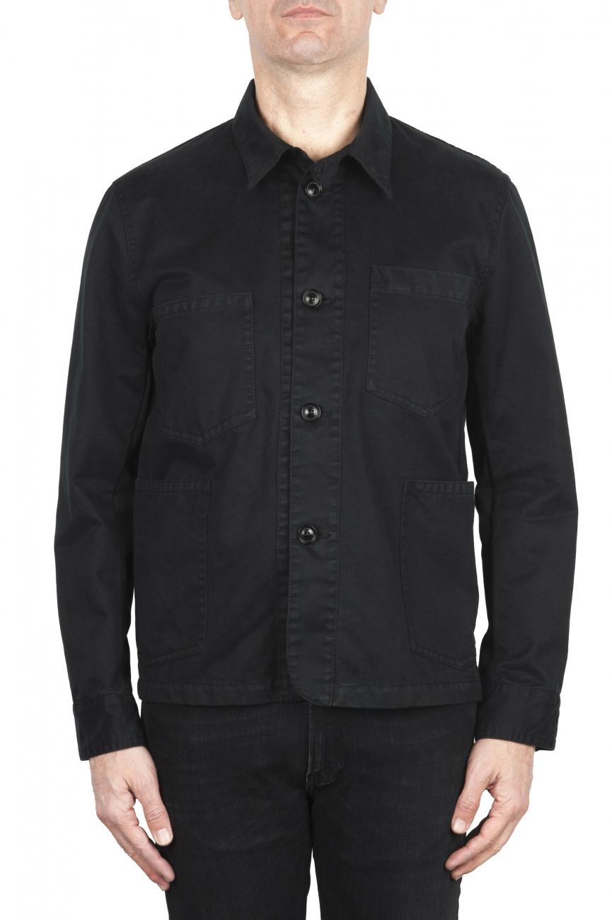 SBU 03158_2021SS Unlined multi-pocketed jacket in black cotton 01