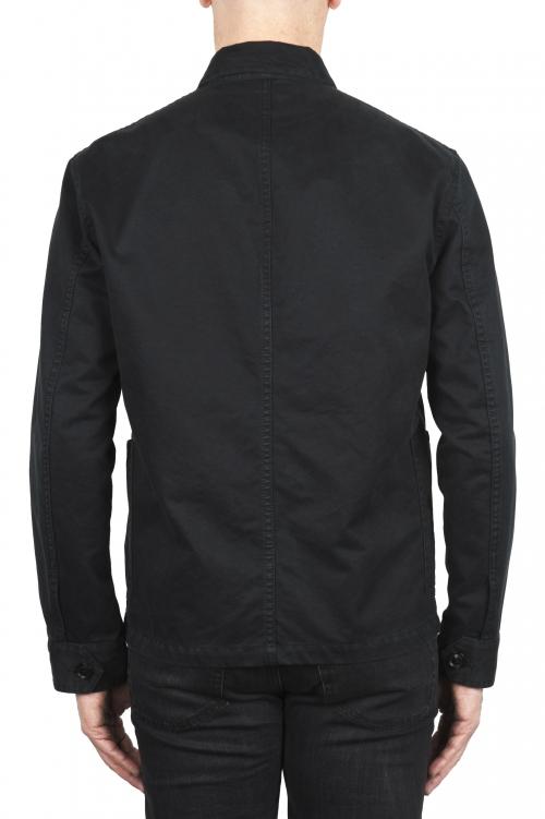SBU 03158_2021SS 黒綿の裏地なしマルチポケットジャケット 01