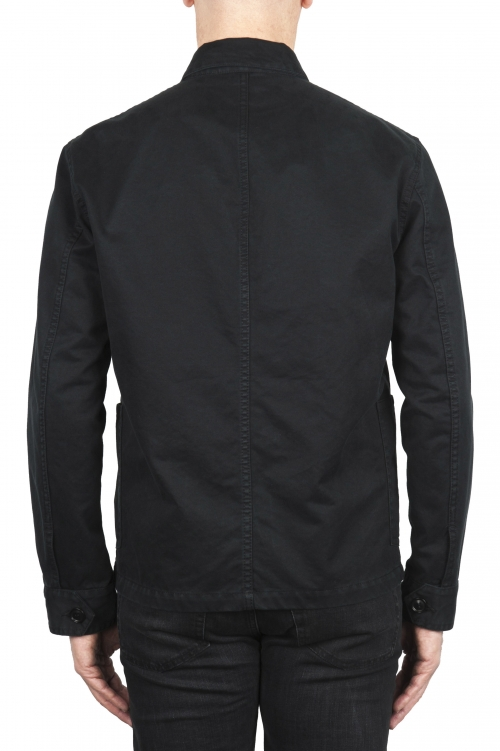 SBU 03158_2021SS Chaqueta multibolsillos sin forro en algodón negro 01