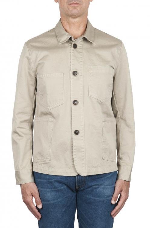 SBU 03159_2021SS Veste à poches multiples sans doublure en coton beige 01