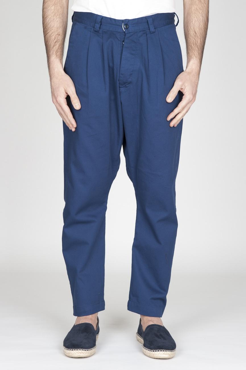 Pantaloni Da Lavoro 2 Pinces Giapponesi In Cotone Blue Navy