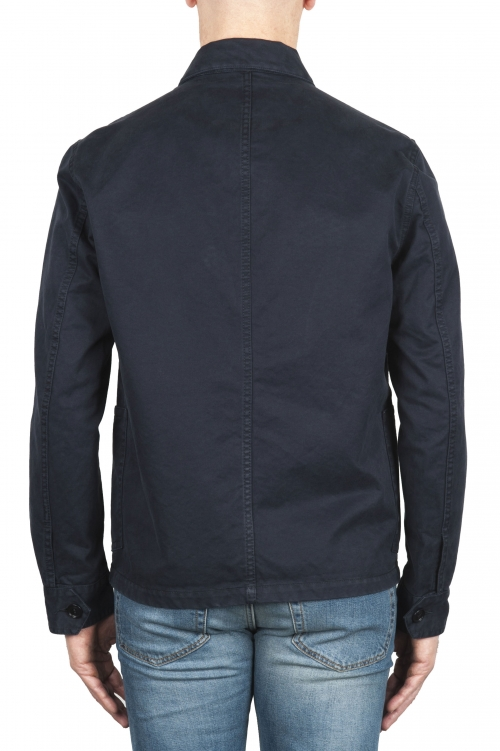 SBU 03162_2021SS Veste à poches multiples sans doublure en coton bleu 01