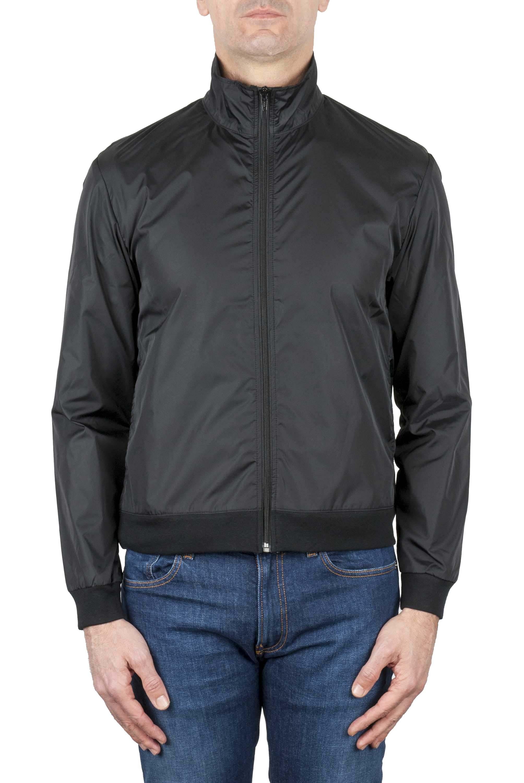 SBU 03166_2021SS Windbreaker bomber jacket in black ultra-lightweight nylon 01