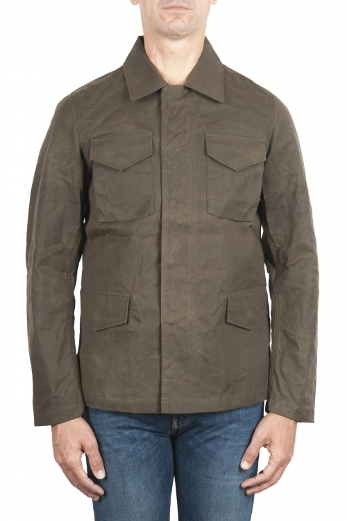 SBU 03167_2021SS Chaqueta cazadora impermeable y cortavientos en algodón engrasado verde 01