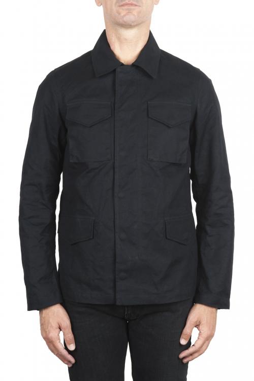SBU 03168_2021SS Veste chasseur coupe-vent et imperméable en coton huilé noir 01