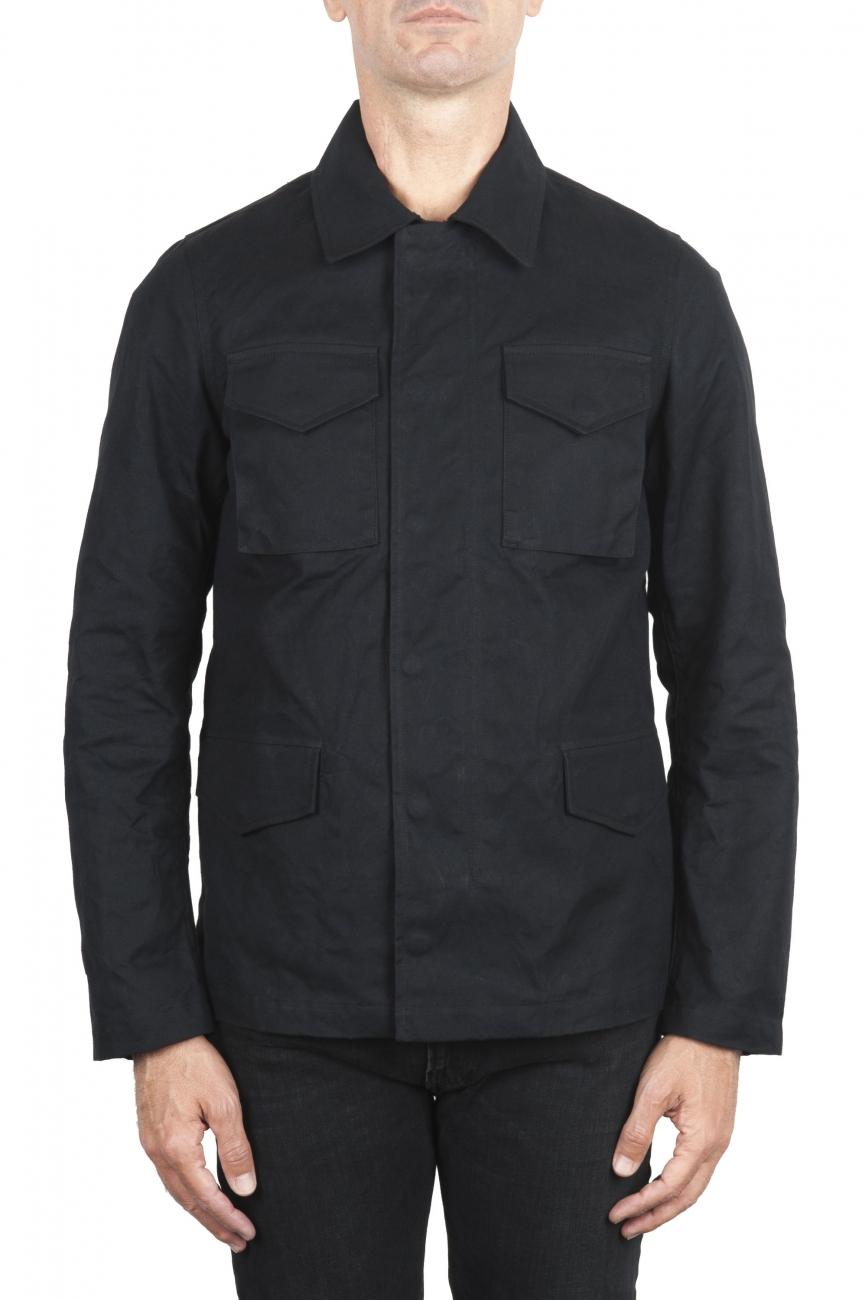 SBU 03168_2021SS Wind and waterproof hunter jacket in black oiled cotton 01