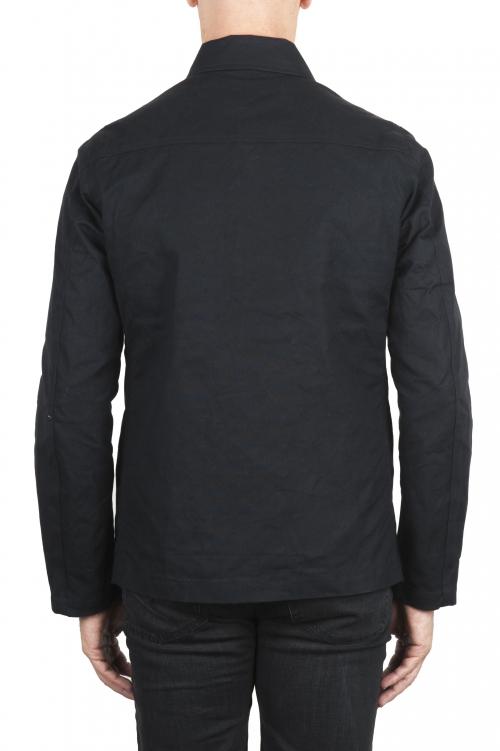 SBU 03168_2021SS Chaqueta cazadora impermeable y cortavientos en algodón engrasado negro 01