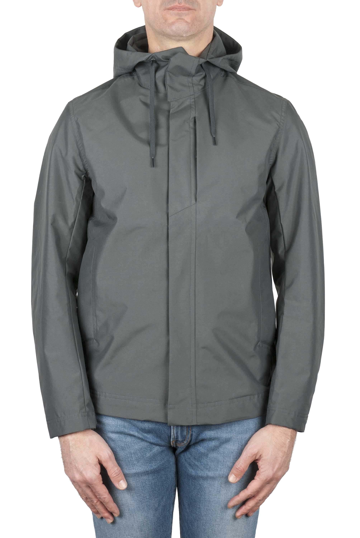 SBU 03169_2021SS Technical waterproof hooded windbreaker jacket grey 01