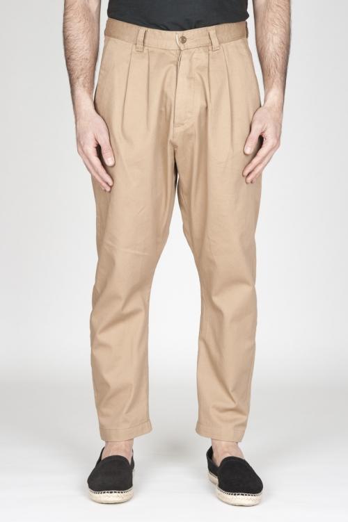 Pantaloni Da Lavoro 2 Pinces Giapponesi In Cotone Beige