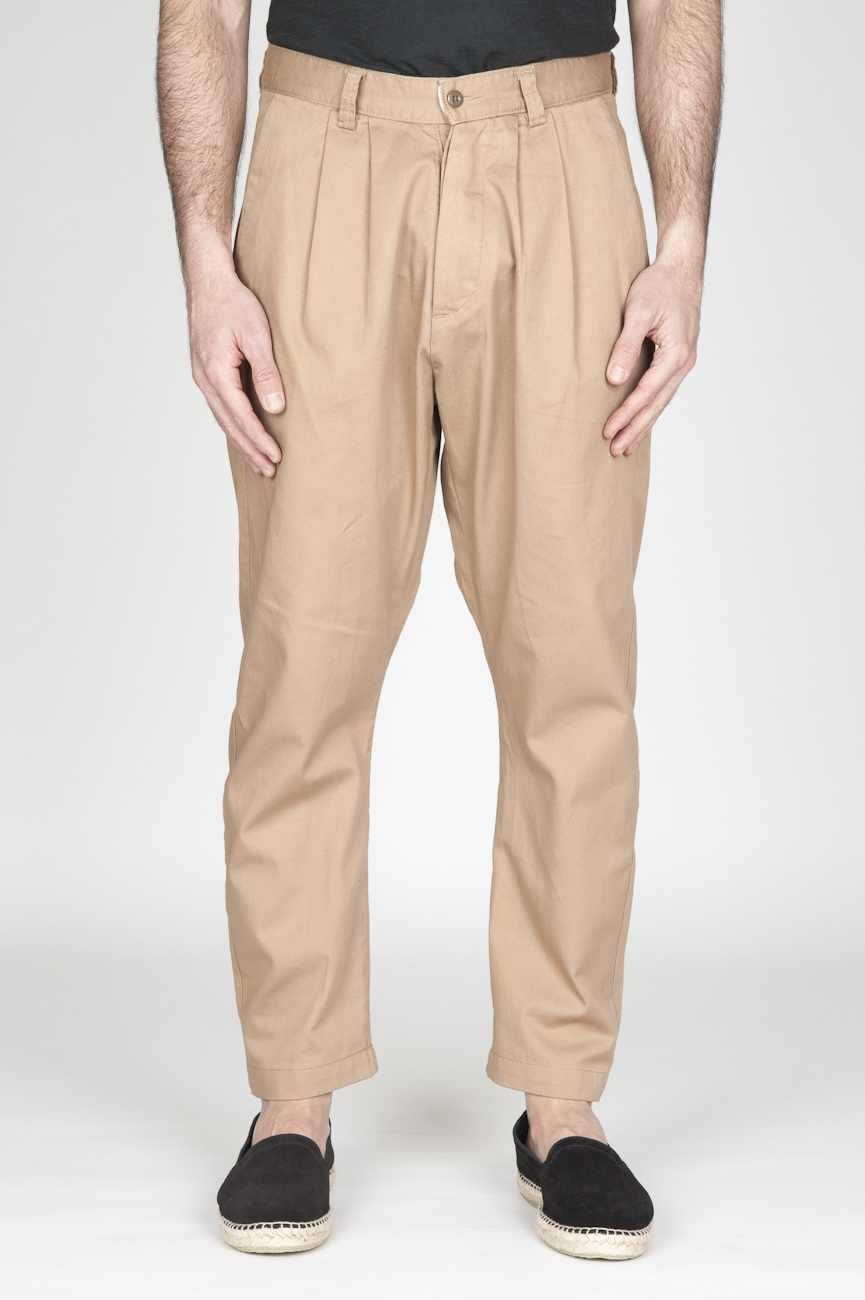 SBU - Strategic Business Unit - Pantaloni Da Lavoro 2 Pinces Giapponesi In Cotone Beige