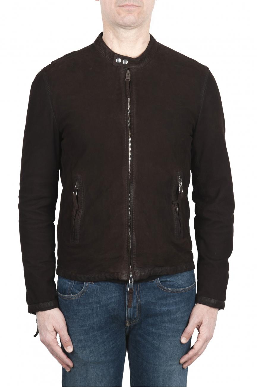 SBU 03173_2021SS Dark brown suede leather jacket 01