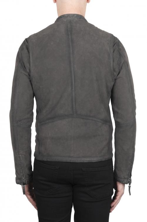 SBU 03174_2021SS Grey suede leather jacket 01