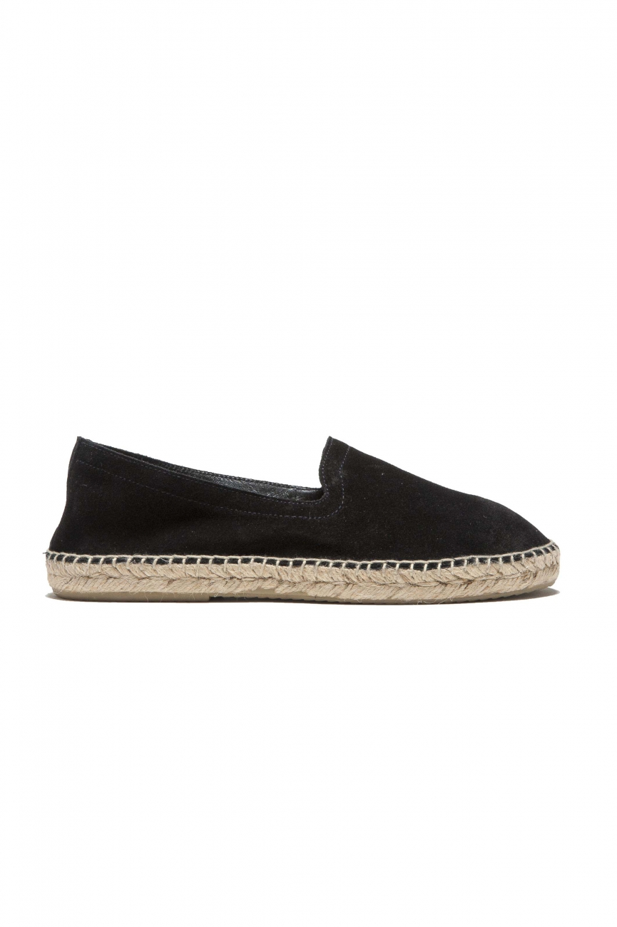 SBU 03177_2021SS Original black suede leather espadrilles with rubber sole 01