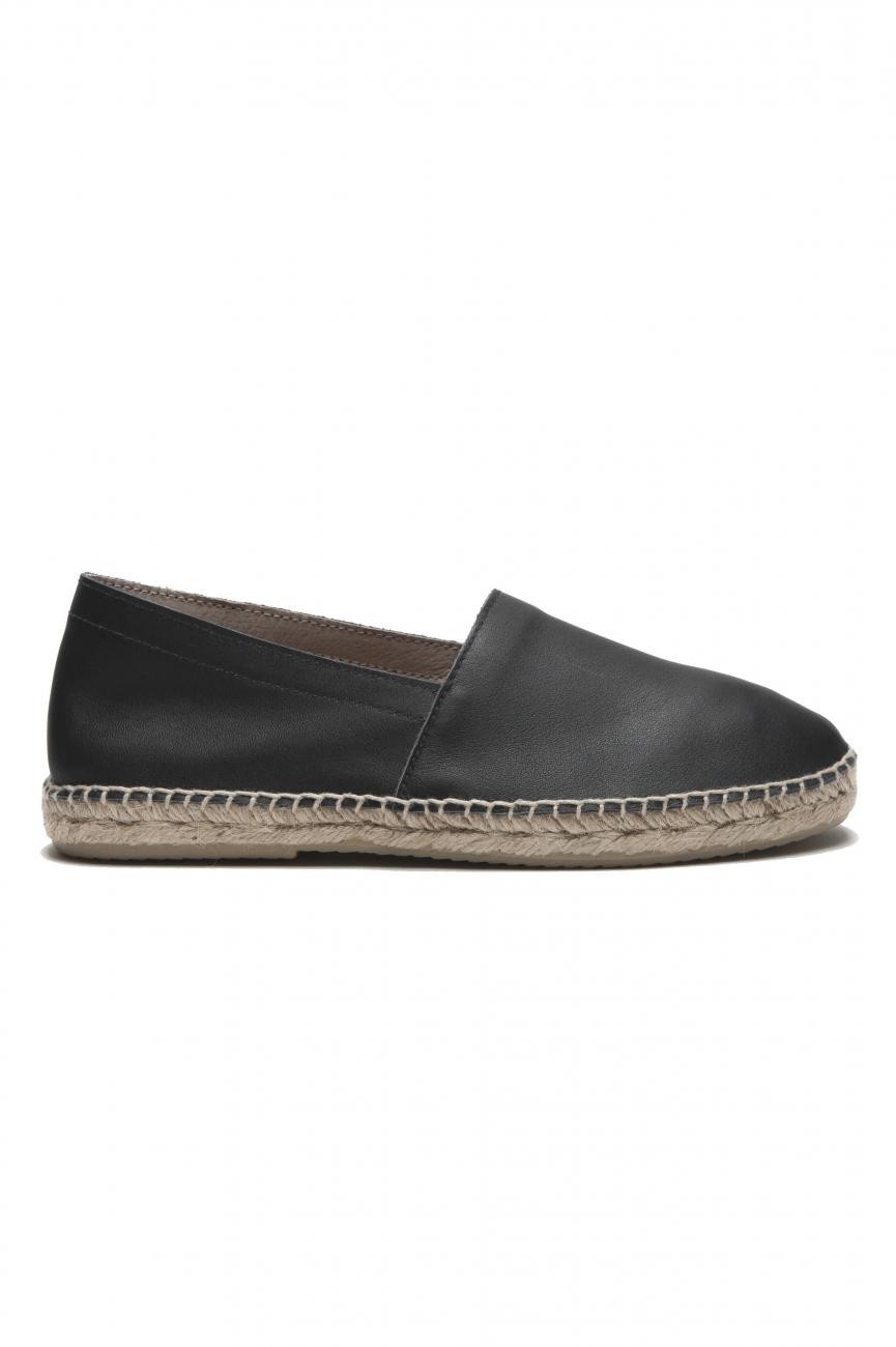 SBU 03180_2021SS Original black leather espadrilles with rubber sole 01