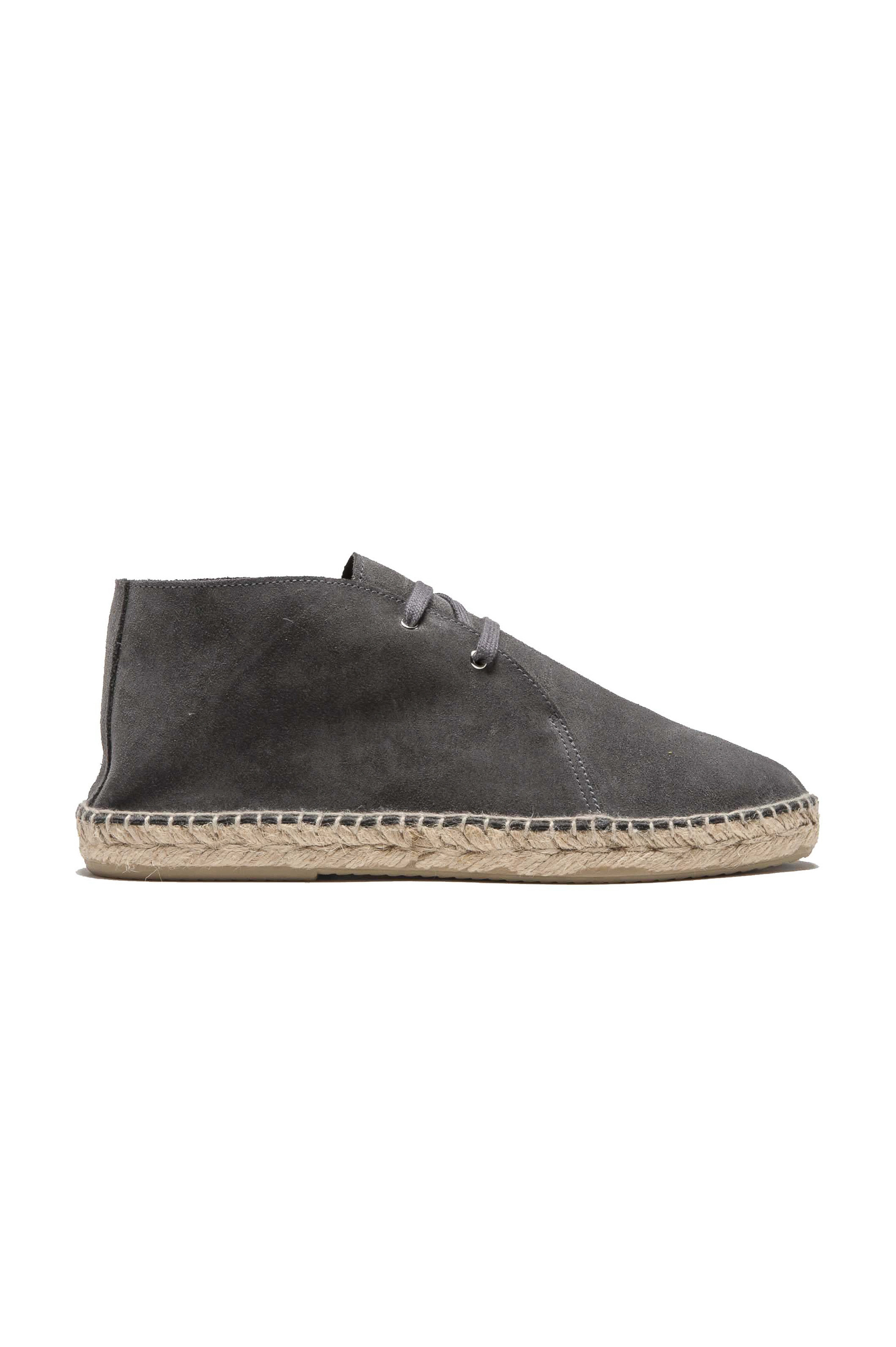 SBU 03183_2021SS Original grey suede leather lace up espadrilles with rubber sole 01