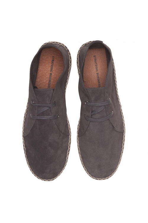 SBU 03183_2021SS Espadrilles à lacets en daim gris originales avec semelle en caoutchouc 01