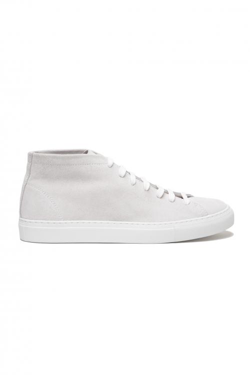 SBU 03185_2021SS Sneakers stringate alte in pelle scamosciata bianche 01
