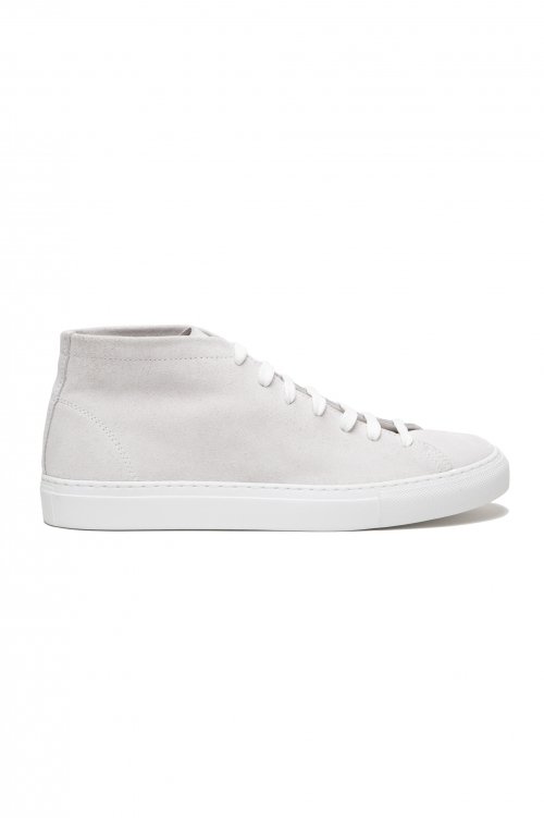 SBU 03185_2021SS White mid top lace up sneakers in suede leather 01