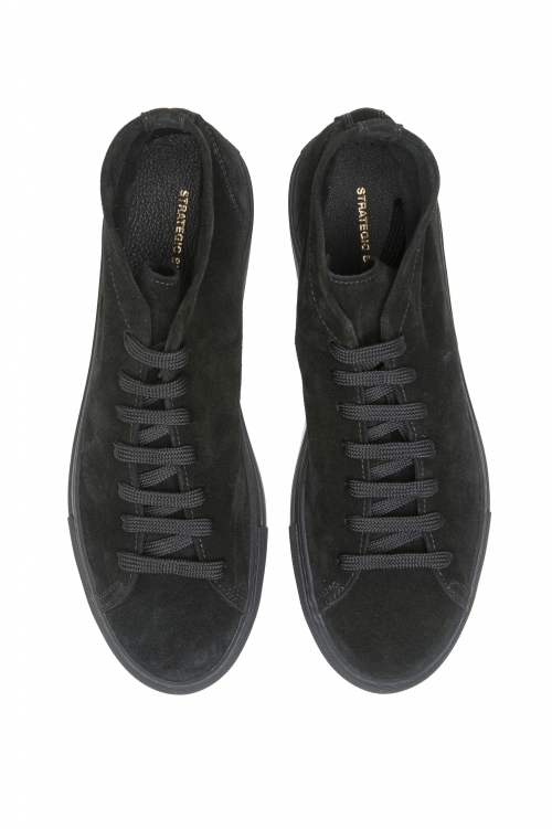 SBU 03186_2021SS Black mid top lace up sneakers in suede leather 01