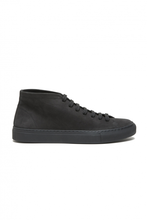 SBU 03187_2021SS Mid top lace up sneakers in black nubuck leather 01