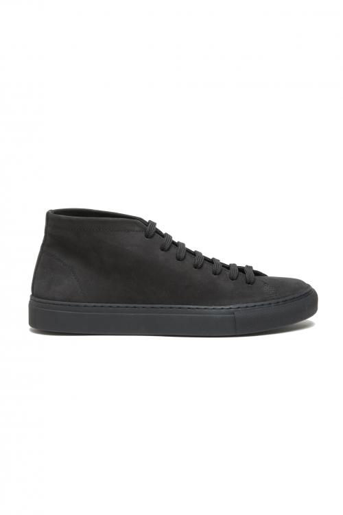 SBU 03187_2021SS Zapatillas altas con cordones en piel nobuck negra 01