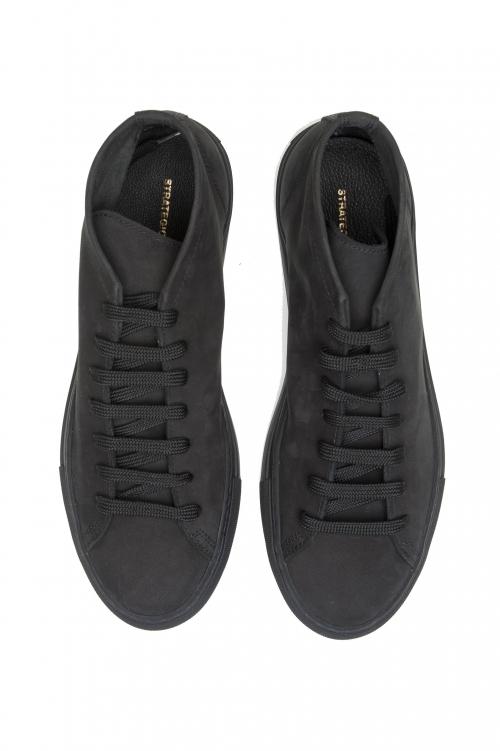 SBU 03187_2021SS Baskets mi-hautes à lacets en cuir nubuck noir 01