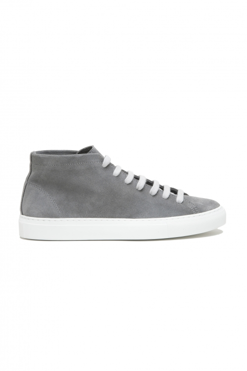 SBU 03188_2021SS Grey mid top lace up sneakers in suede leather 01