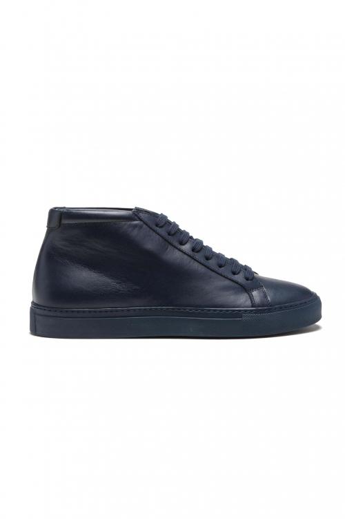 SBU 03189_2021SS Zapatillas altas con cordones en la parte media de piel de becerro azul 01