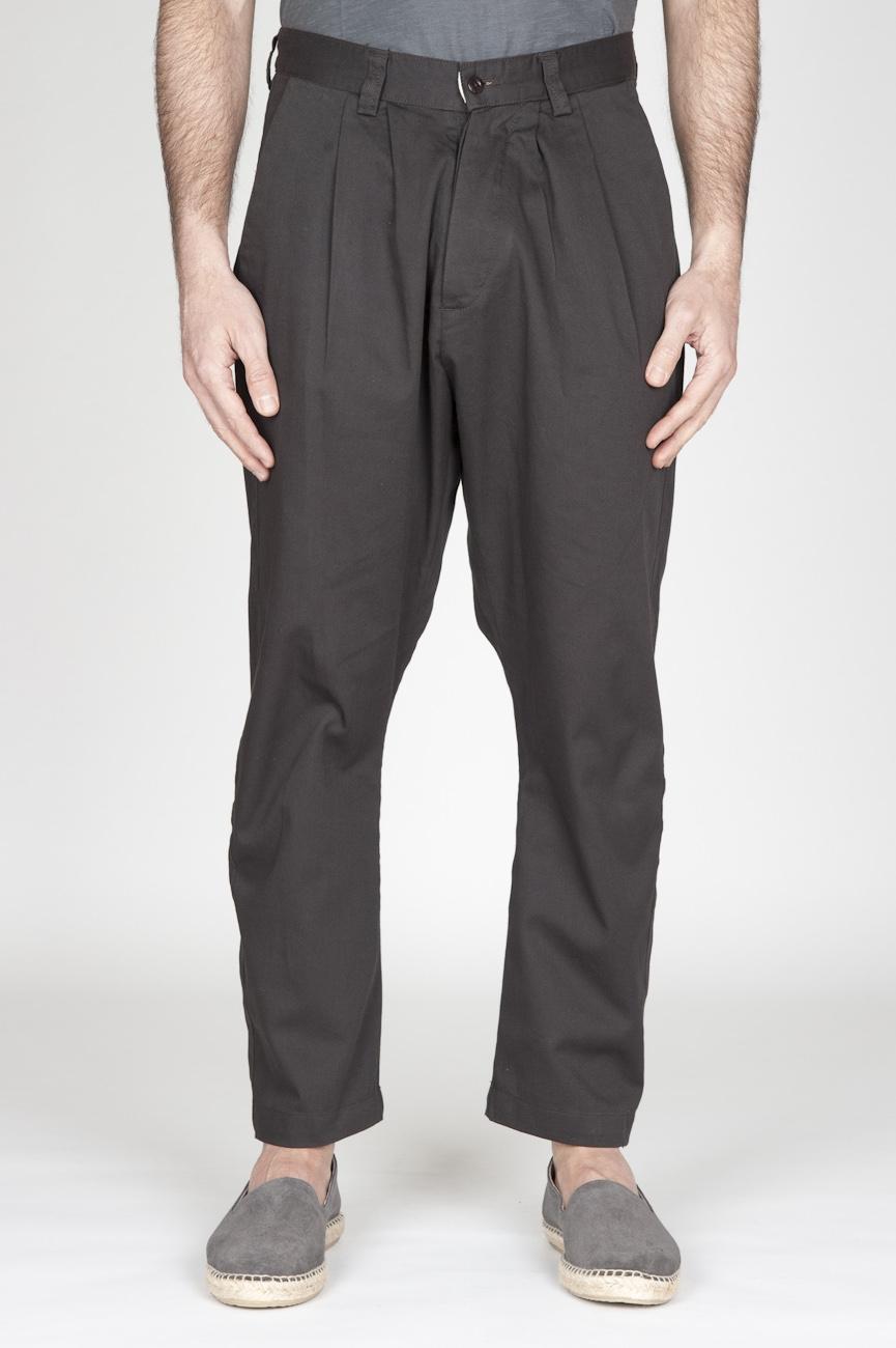 Pantaloni Da Lavoro 2 Pinces Giapponesi In Cotone Marrone