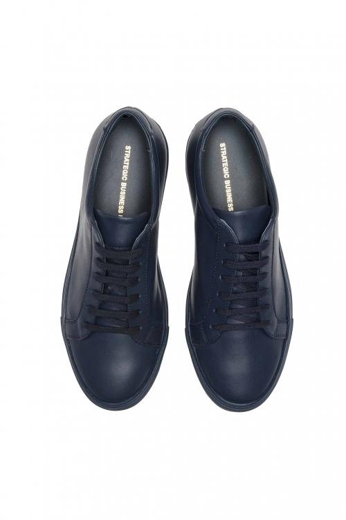 SBU 03193_2021SS Zapatillas clásicas con cordones en piel de becerro azul 01