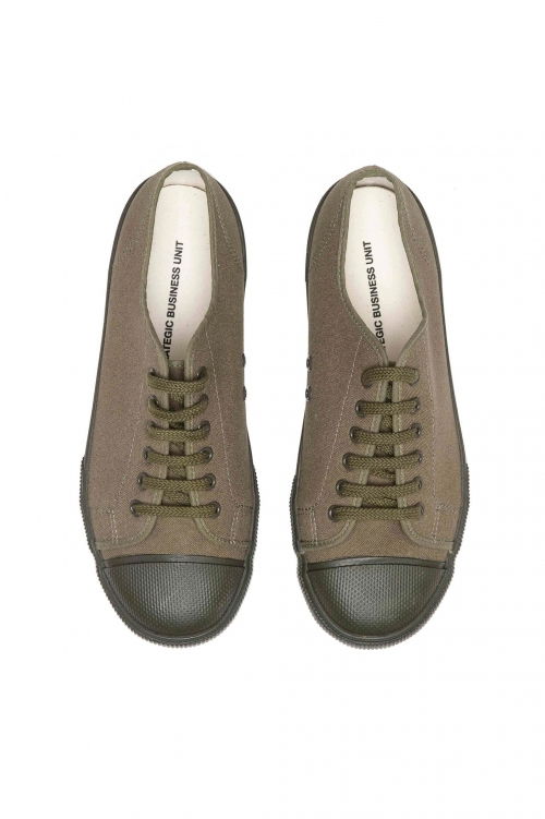 SBU 03196_2021SS Classic lace up sneakers in in green cotton canvas 01