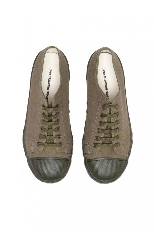 SBU 03196_2021SS Zapatillas clásicas con cordones en lona de algodón verde 01