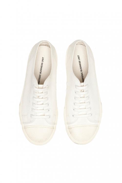 SBU 03197_2021SS Baskets classiques à lacets en toile de coton blanc 01