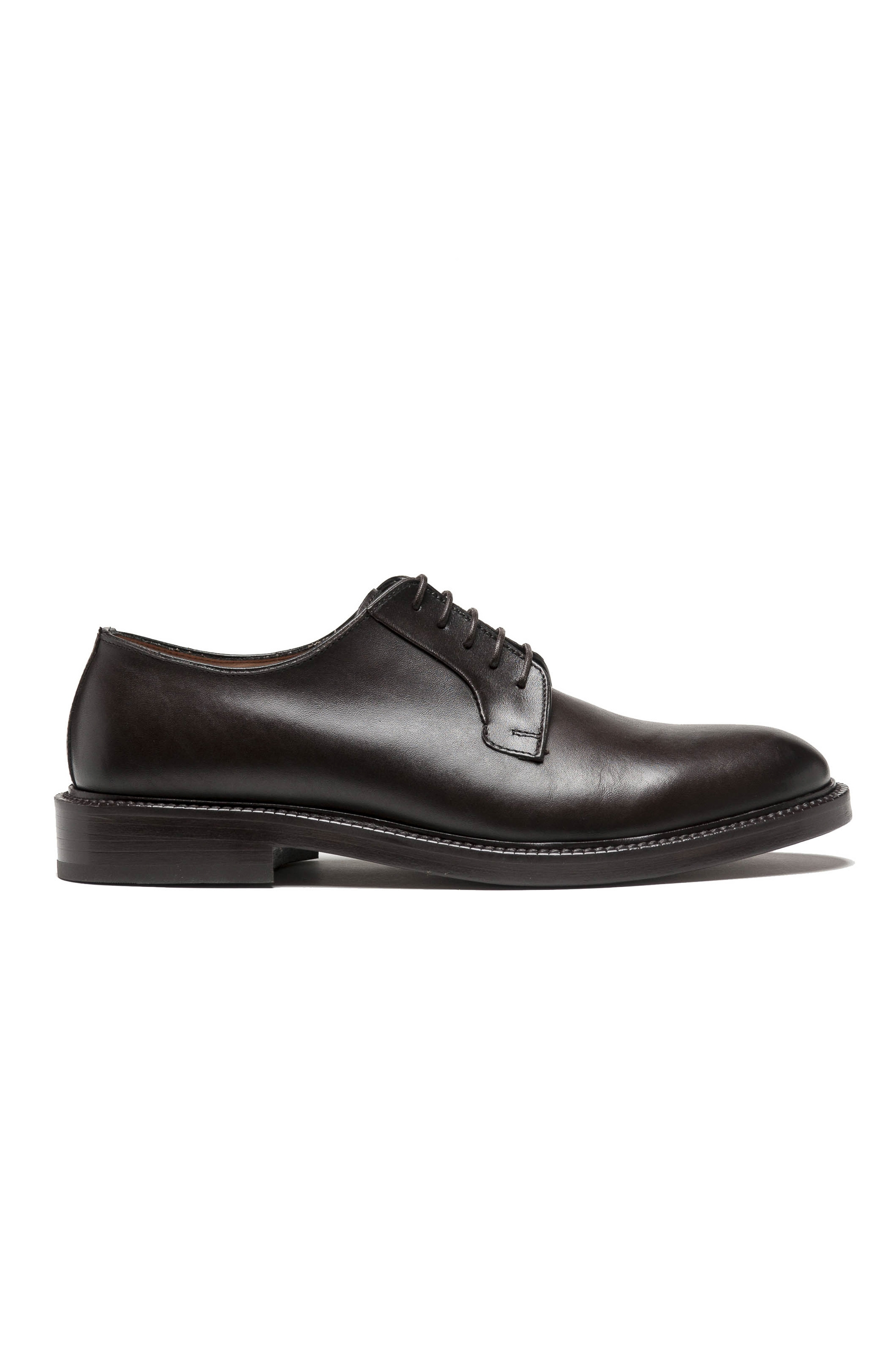 SBU 03199_2021SS Brown lace-up plain calfskin derbies with leather sole 01
